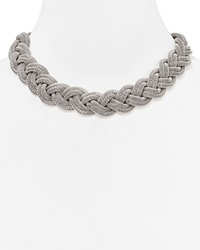 Aqua Alex Braided Collar Necklace 14 Silver