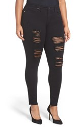Good American Plus Size Women's Legs Destroyed Skinny Jeans Black 002