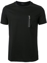 Christian Dada Chest Zipped Pocket T Shirt Black