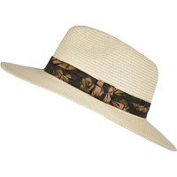 River Island Mens Brown Floral Trim Fedora Hat