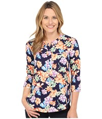 Nydj Solid 3 4 Sleeve Pleat Back Harlequin Floral Mango Passion Women's Blouse Multi