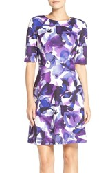 Vince Camuto Petite Women's Print Scuba Fit And Flare Dress Purple Print