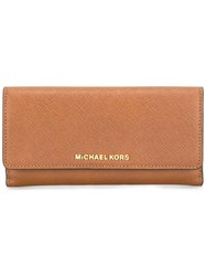 Michael Michael Kors 'Jet Set Travel' Tri Fold Wallet Brown