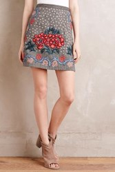 Anthropologie Embroidered Wool Mini Skirt Grey Motif