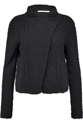 Maje Macao Boucle Cotton Blend Jacket Black