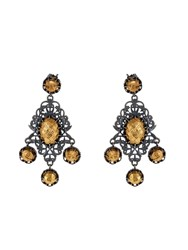 Bottega Veneta Oxidised Silver And Gold Plated Drop Earrings