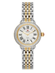 Michele Serein Diamond Mother Of Pearl 18K Goldplated And Stainless Steel Bracelet Watch Gold Silver