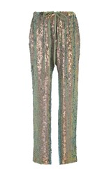 Rosie Assoulin Sequined Drawstring Pants Metallic
