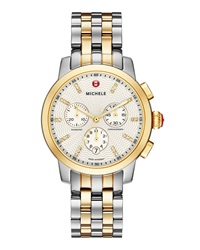Michele 18K Gold Plated And Stainless Steel Three Hand Chronograph Watch