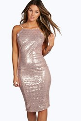 Eleonore Sequin Open Back Midi Bodycon Dress