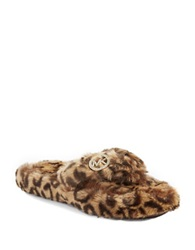 Michael Michael Kors Cheetah Faux Fur Thong Slippers Leopard