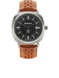 Barbour Beacon Drive Perforated Leather Strap Watch Tan