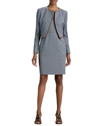 Albert Nipon Mini Houndstooth Sleeveless Dress And Jacket Set