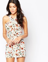 Parisian Cross Front Playsuit In Poppy And Daisy Print White