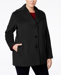 Calvin Klein Plus Size Wool Cashmere Single Breasted Peacoat Black
