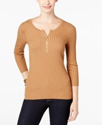 Inc International Concepts Zip Up Ribbed Sweater Only At Macy's Heather Ginger
