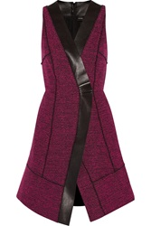 Proenza Schouler Leather Trimmed Boucle Tweed Dress Pink