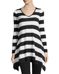 Neiman Marcus Striped Knit V Neck Tunic Black Ivory