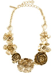 Oscar De La Renta Flower Statement Necklace Metallic