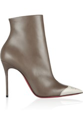 Christian Louboutin Calamijane 100 Cap Toe Leather Ankle Boots Nude