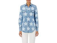 Saint Laurent Women's Denim Western Shirt Light Blue
