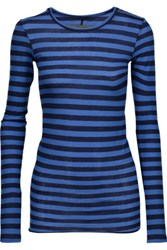 Enza Costa Striped Pima Cotton Top Blue