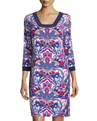 Laundry By Shelli Segal Printed 3 4 Sleeve Square Neck Dress Vivid Pink