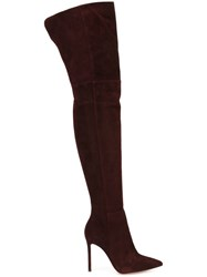 Gianvito Rossi 'Dree' Thigh Boots Pink And Purple