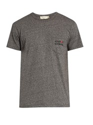 Maison Kitsune Army Crew Neck Cotton Jersey T Shirt Grey