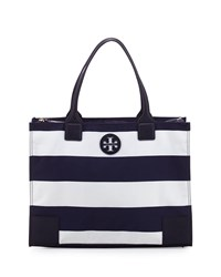Tory Burch Ella Packable Striped Zip Top Tote Bag Navy Navy Bar Stripe