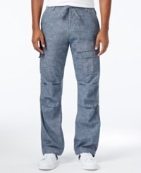 Sean John Pleat Pocket Flight Cargo Pants Indigo Chambray
