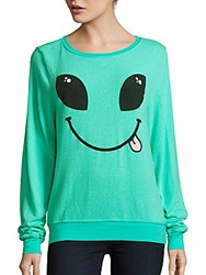 Wildfox Couture Textured Graphic Pullover Mint Chip