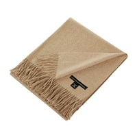 Sofia Cashmere Trentino 2 Ply Fringed Throw Taupe