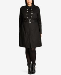 City Chic Trendy Plus Size Military Trench Coat Black