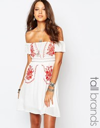 Glamorous Tall Off The Shoulder Embroidered Folk Dress White