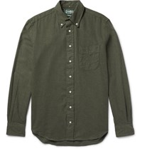 Gitman Brothers Vintage Slim Fit Button Down Collar Cotton Flannel Shirt Army Green
