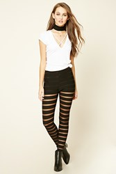 Forever 21 Mesh Striped Leggings