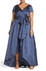 Adrianna Papell Plus Size Women's Shirred Taffeta High Low Gown Navy