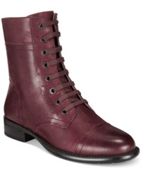 Easy Spirit Janis Lace Up Booties Women's Shoes Wine Leather
