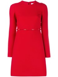 Valentino Bow Detailed Dress Red