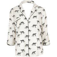 River Island Womens White Cheetah Print Pyjama Shirt
