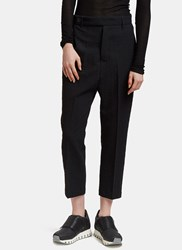 Rick Owens Seersucker Dropped Crotch Cropped Pants Black