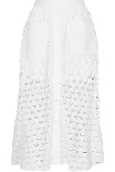 Paul And Joe Eolienne Broderie Anglaise Cotton Midi Skirt White