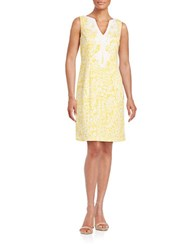 Eliza J Embroidered A Line Dress Yellow