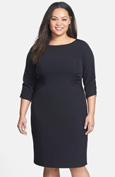 Plus Size Women's Adrianna Papell Side Ruched Crepe Sheath Dress Black