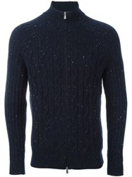 Brunello Cucinelli Textured Zipped Cardigan Blue