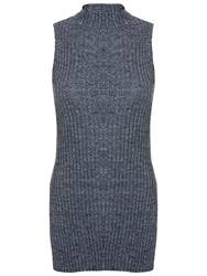 Miss Selfridge Knitted Tunic Top Grey