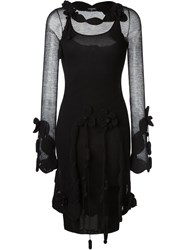 Chanel Vintage Crochet Mesh Dress Black