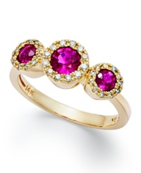 Effy Collection Gemma By Effy Ruby 3 4 Ct. T.W. And Diamond 1 6 Ct. T.W. Three Stone Ring In 14K Gold