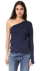 Jacquemus One Shoulder Cardigan Navy